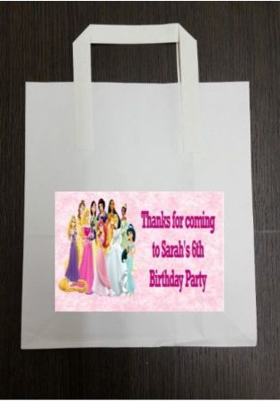 4 x Disney Princess Birthday Party Bags with Personalised Sticker